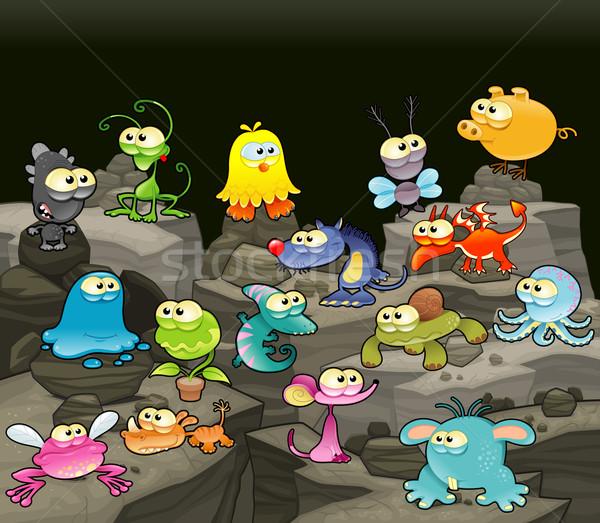 Rodziny potwory jaskini funny cartoon wektora Zdjęcia stock © ddraw