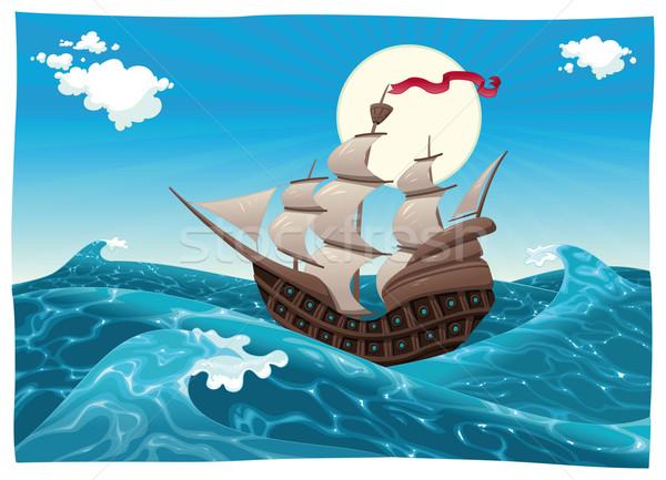 Galleon in the sea. Stock photo © ddraw