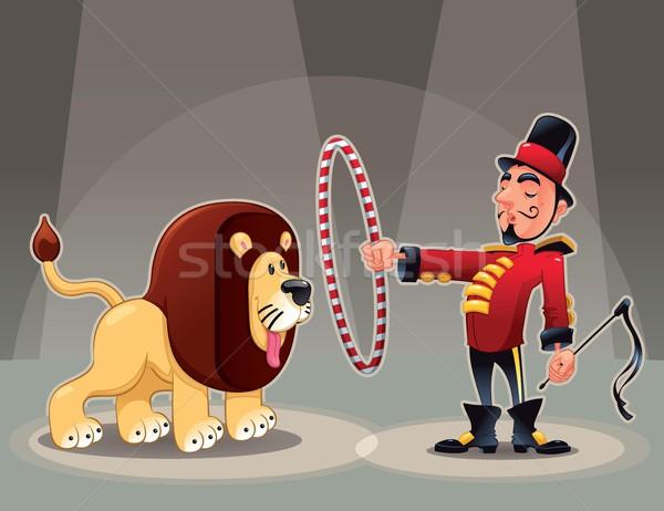 Сток-фото: лев · смешные · Cartoon · вектора · цирка · иллюстрация