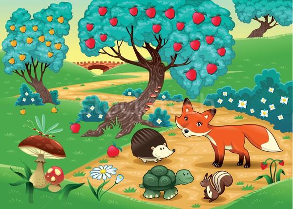 Dieren hout grappig cartoon bloem gelukkig Stockfoto © ddraw