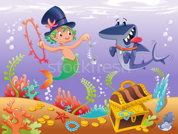 Stock photo: Triton with shark with background.