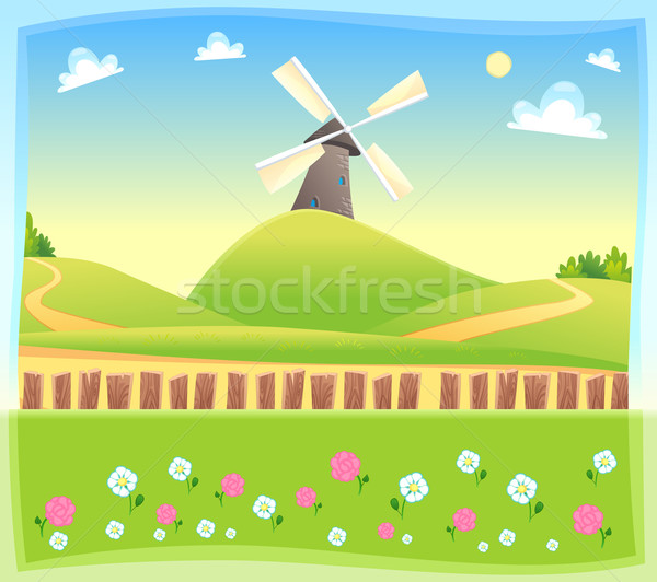 Grappig landschap windmolen vector cartoon illustratie Stockfoto © ddraw