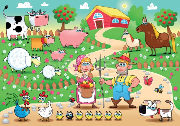Funny faFunny farm family. Stock photo © ddraw