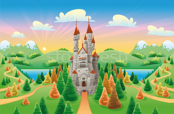 Panorama with medieval castle. Stock photo © ddraw