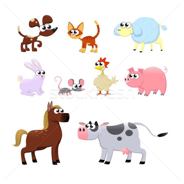 çiftlik hayvanları komik karikatür vektör yalıtılmış Stok fotoğraf © ddraw
