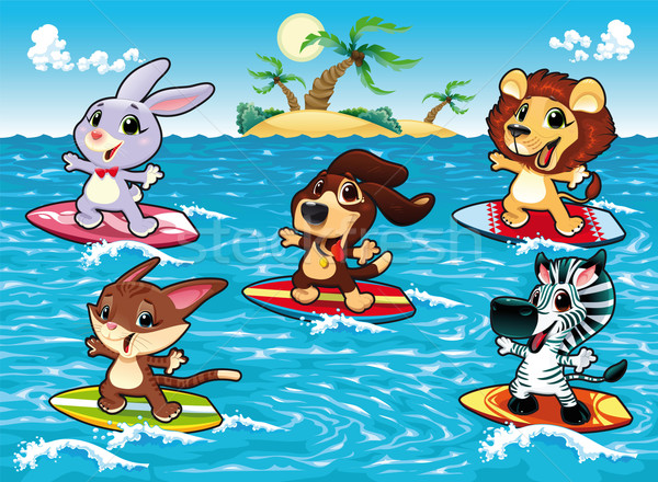 Drôle animaux surf mer cartoon objets isolés Photo stock © ddraw
