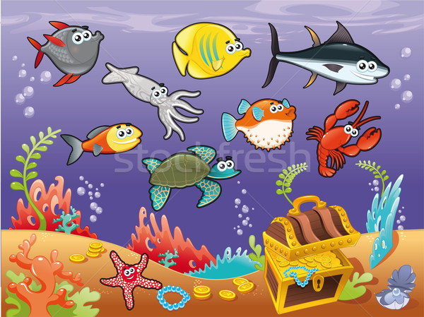 Family of funny fish under the sea. Stock photo © ddraw