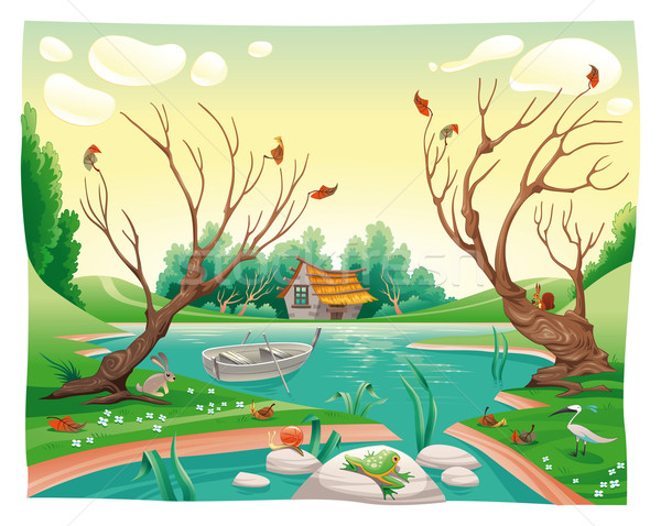 Pond and animals. Stock photo © ddraw
