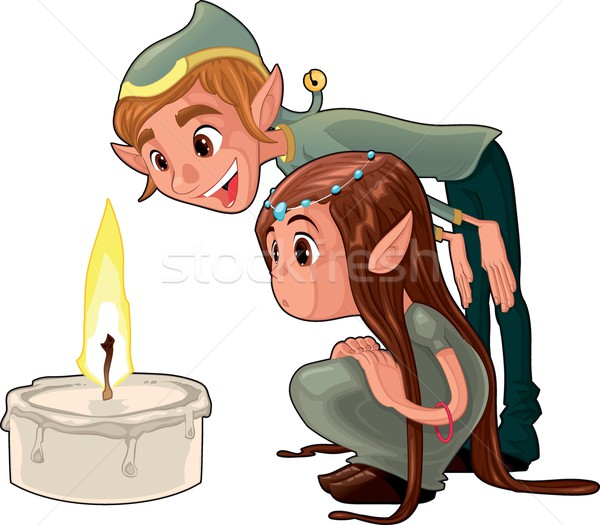 Young elf with a candle. Stock photo © ddraw