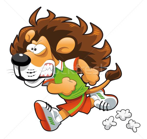 Stock fotó: Futó · oroszlán · vicces · rajz · vektor · izolált