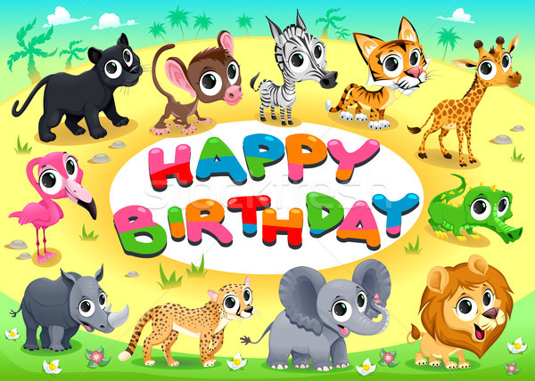 Happy Birthday card with Jungle animals Stock photo © ddraw