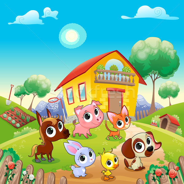 Funny farm animals in the garden Stock photo © ddraw