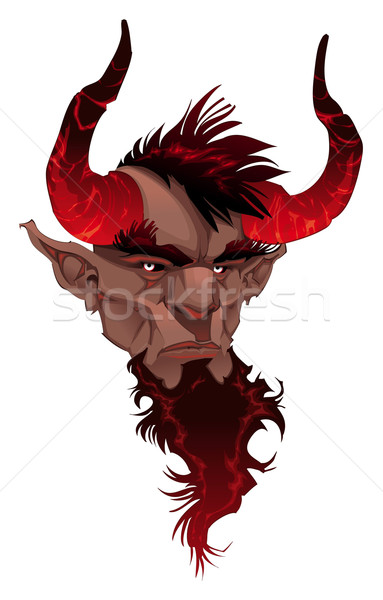 Diable visage portrait vecteur isolé illustration Photo stock © ddraw
