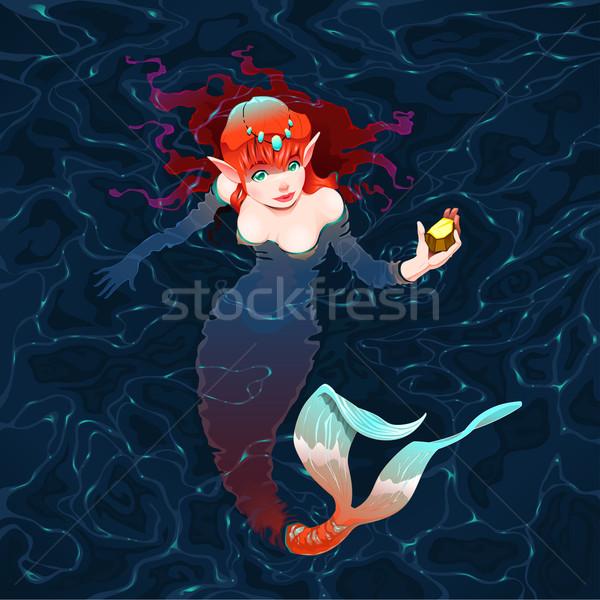 русалка воды кусок золото женщину рыбы Сток-фото © ddraw
