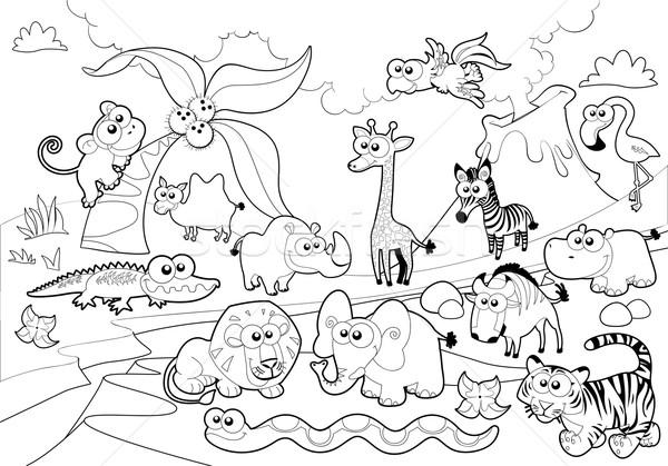 Sabana animales familia blanco negro Cartoon árbol Foto stock © ddraw