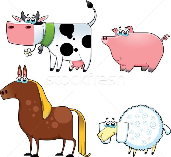 смешные сельскохозяйственных животных Cartoon вектора изолированный Сток-фото © ddraw
