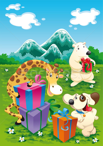 Animals and gifts with background.  Stock photo © ddraw