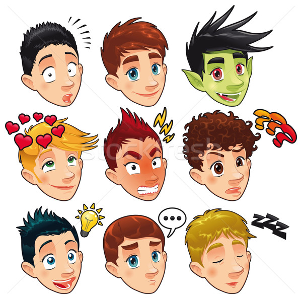 Various expressions of boys.  Stock photo © ddraw