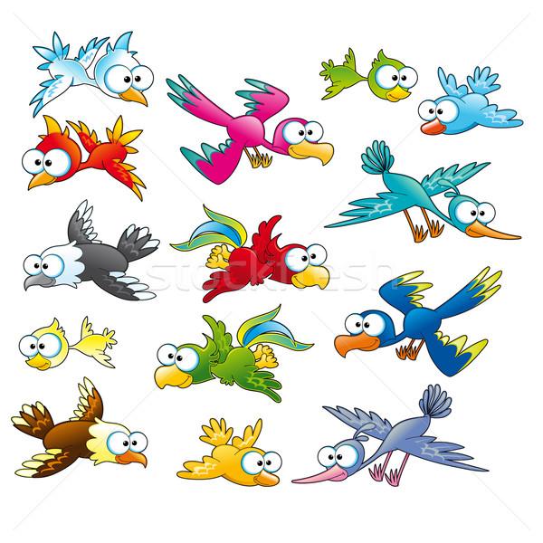 Stock fotó: Család · vicces · madarak · vektor · rajz · izolált