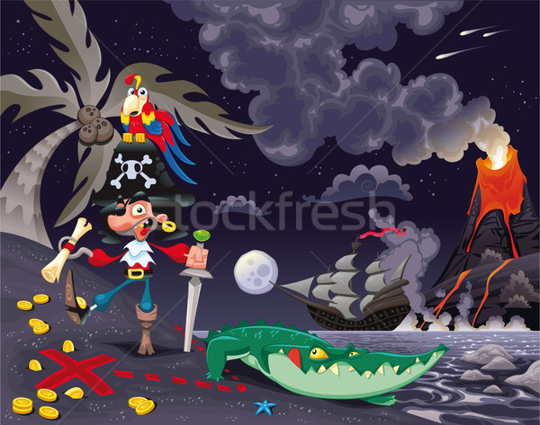 Pirate on the island in the night.  Stock photo © ddraw