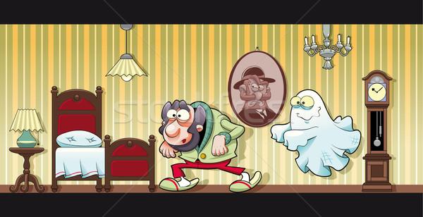 Kisértetjárta ház vicces rajz óra asztal Stock fotó © ddraw