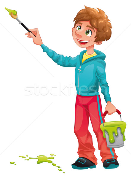 Stock photo: Boy painter.