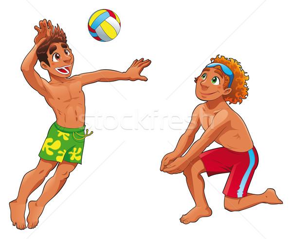 ビーチ ボレー 面白い 漫画 ベクトル スポーツ ストックフォト © ddraw