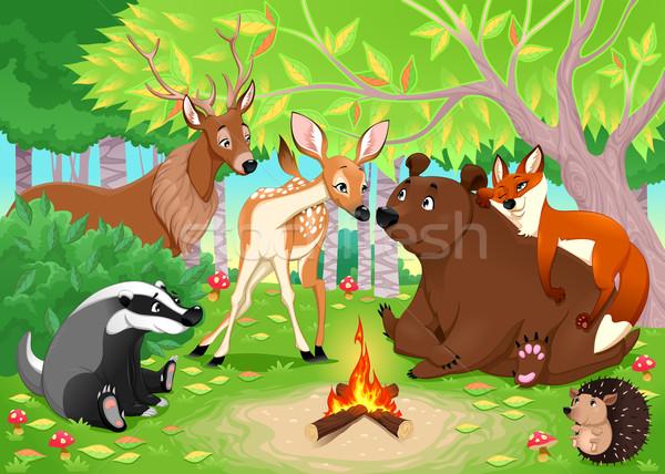 Grappig dieren blijven samen hout vector Stockfoto © ddraw