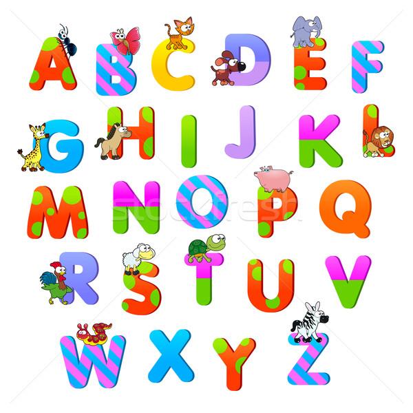 алфавит животные смешные Cartoon вектора изолированный Сток-фото © ddraw