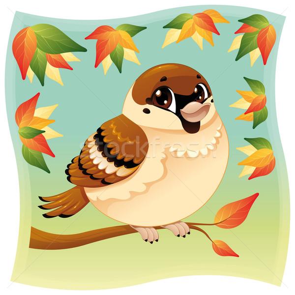 Engraçado pequeno pardal ramo desenho animado objetos isolados Foto stock © ddraw