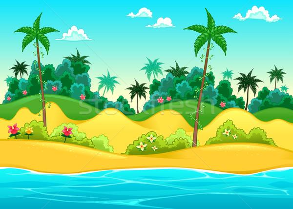 Landschap vector cartoon illustratie water boom Stockfoto © ddraw
