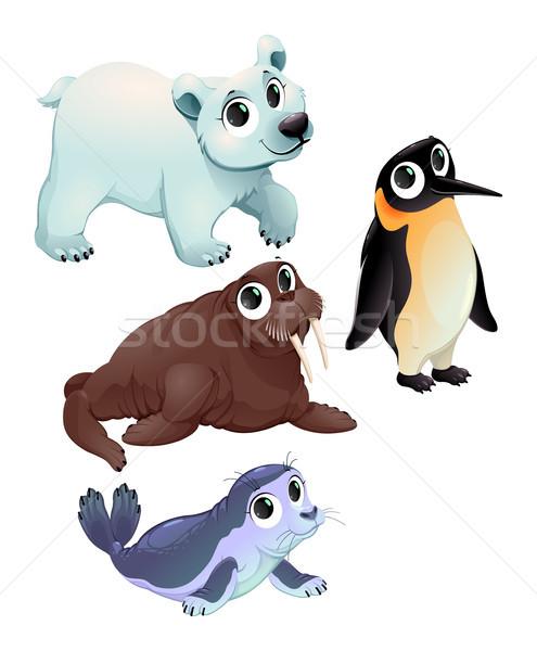 Vicces sarki állatok vektor rajz izolált Stock fotó © ddraw