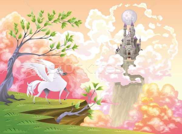 Mitológico paisagem desenho animado objetos isolado sorrir Foto stock © ddraw