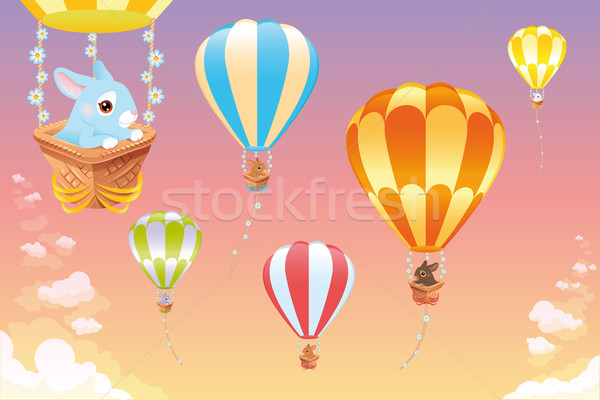 Hot air balloons in the sky with bunny. Stock photo © ddraw