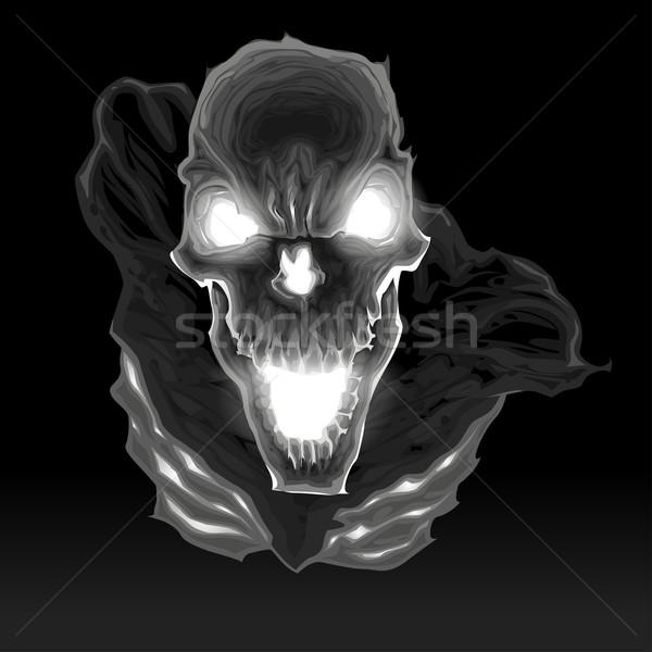 Zwarte skelet donkere schedel angst menselijke Stockfoto © ddraw