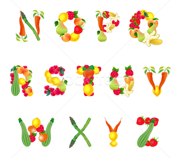 Alphabet composed by fruits and vegetables, second part Stock photo © ddraw