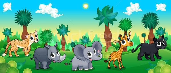 綠色 森林 野生動物 向量 漫畫 插圖 商業照片 © ddraw