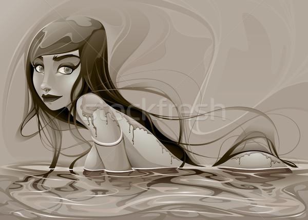 портрет Lady улыбка лице морем красоту Сток-фото © ddraw
