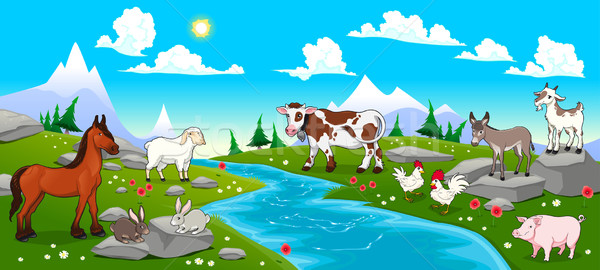 Mountain landscape with river and animals Stock photo © ddraw