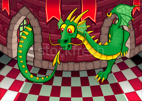 Inside the castle with dragon. Stock photo © ddraw