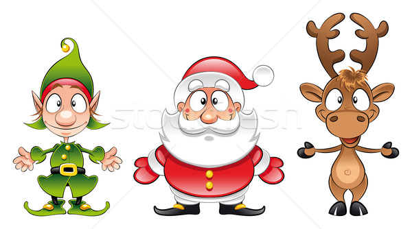 Kerstman elf grappig cartoon vector geïsoleerd Stockfoto © ddraw