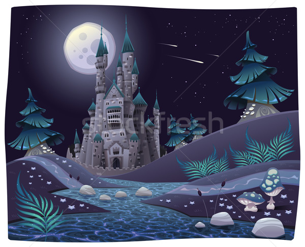 Nightly panorama with castle. Stock photo © ddraw