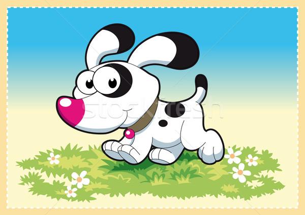 собака смешные Cartoon природы краской фон Сток-фото © ddraw