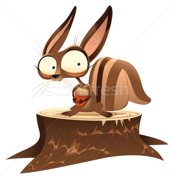 Eekhoorn grappig cartoon vector karakter geïsoleerde objecten Stockfoto © ddraw