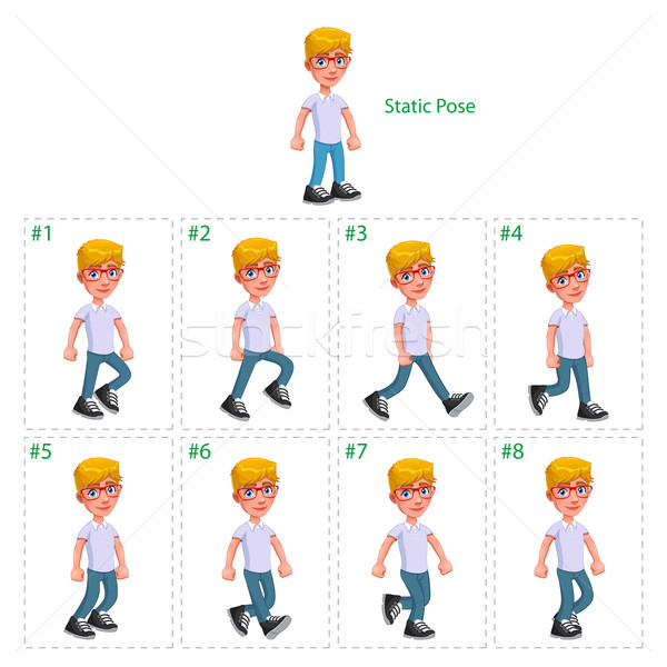 Animation of boy walking. Stock photo © ddraw