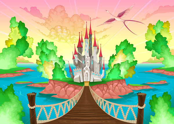 Fantasy landscape with castle.  Stock photo © ddraw