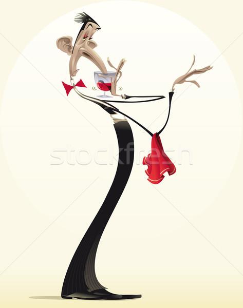 Grappig De ober rode wijn cartoon glas diner Stockfoto © ddraw
