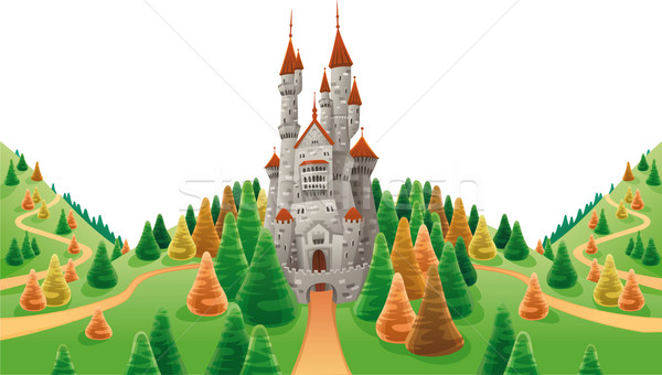 Medieval castle in the land. Stock photo © ddraw