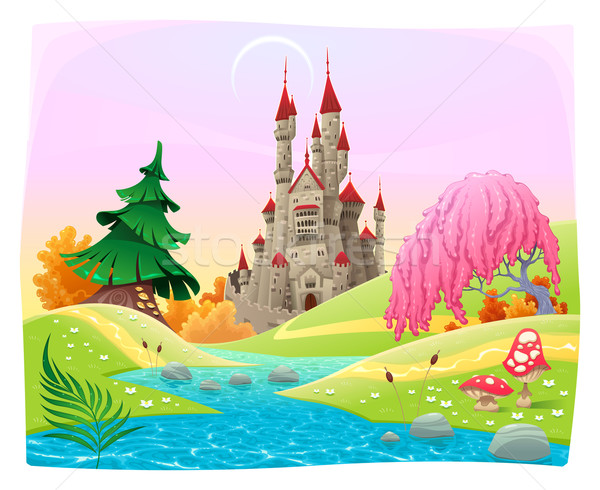 Mythological landscape with medieval castle.  Stock photo © ddraw