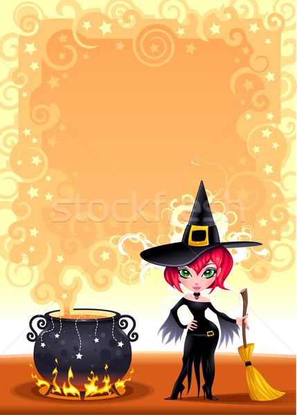 Vicces boszorkány edény rajz nő fekete Stock fotó © ddraw
